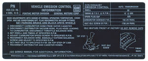 1971 LeMans Emissions Decal 455-4V HO/AT (PN, #484674)