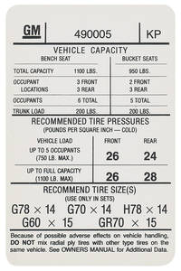 1973 Tempest Tire Pressure Decal (KP, #490005)