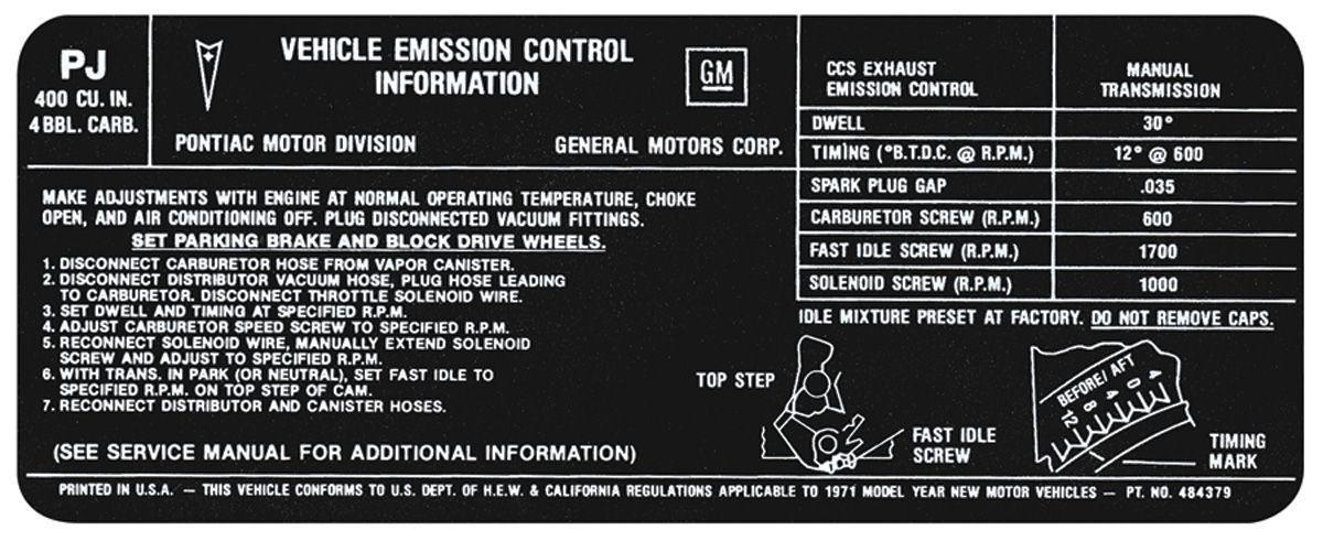 Photo of Emissions Decal 400-4V MT (US/CA) (PJ, #484379)