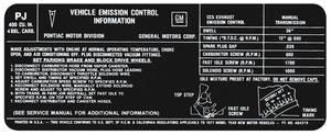 1971 LeMans Emissions Decal 400-4V MT (PJ, #484379)