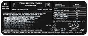 1971 LeMans Emissions Decal 400-4V MT (PJ, #484379)