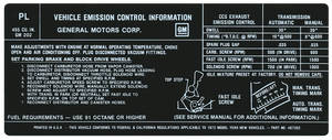 1972 Catalina/Full Size Emissions Decal 455-4V (US/CA) (PL, #487352)