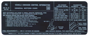 1972 Bonneville Emissions Decal 400-4V (US/CA) (PG, #487348)
