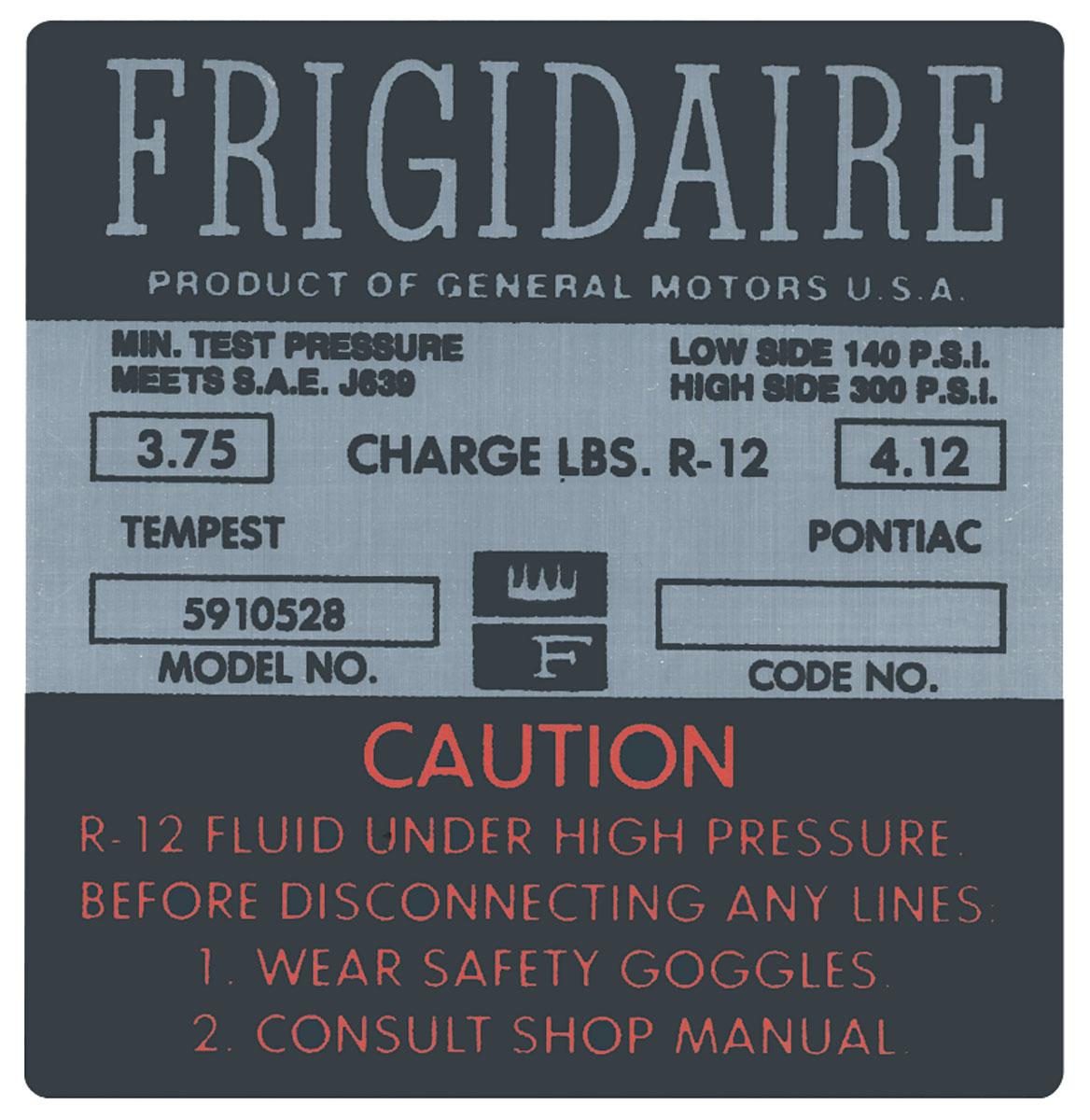 Photo of Bonneville AC Compressor Decal Frigidaire (#5910528)
