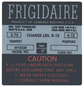 "1966 Tempest Air Conditioning Compressor Decal, ""Frigidaire"" (#5910528)"