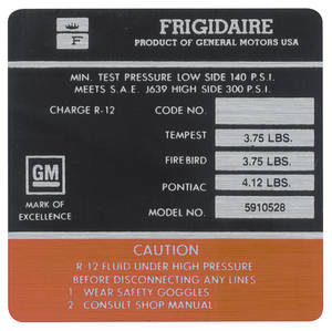 1967 Bonneville AC Compressor Decal Frigidaire (#5910528)