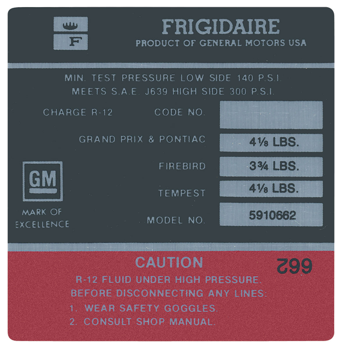 Photo of Bonneville AC Compressor Decal Frigidaire (#5910662)