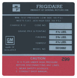 "1971 Tempest Air Conditioning Compressor Decal, ""Frigidaire"" (#5910775)"