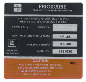 "1973 Tempest Air Conditioning Compressor Decal, ""Frigidaire"" (#1131030)"