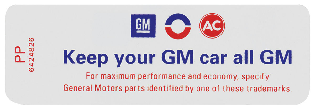 """Photo of Air Cleaner Decal, """"Keep Your GM Car All GM"""" (PP, #6424826)"""