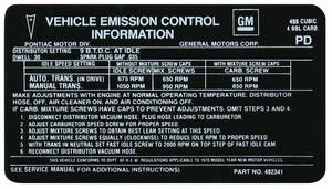 1970 GTO Emissions Decal 455-4V (PD, #482341)
