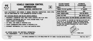 1974 Catalina Emissions Decal 400 AT (PE, #495711)