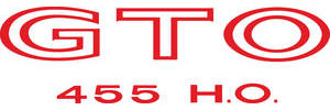 """1971-1971 GTO Body Decal, 1971 """"GTO 455 H.O."""" Red, by RESTOPARTS"""
