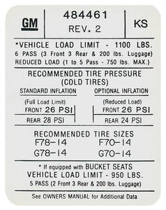1972 GTO Tire Pressure Decal (KS, #484461)