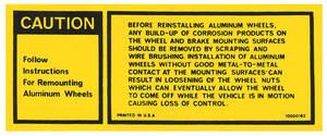 1977-1977 Grand Prix Wheel Warning Decal, Aluminum (Grand Prix) #10000182