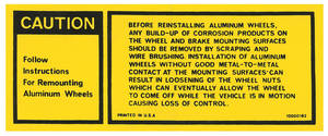 1977 Wheel Warning Decal, Aluminum (Grand Prix) #10000182