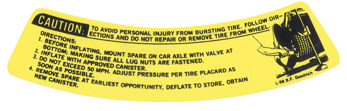 Photo of LeMans Space Saver Spare Warning Decal Inflator Bottle Warning (#9793469)