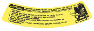 1973 GTO Space Saver Spare Warning Decal Spare Tire Warning (#L-98)