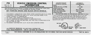 1974 LeMans Emissions Decal 350 AT (PB, #495721)