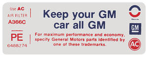 """1974 Air Cleaner Decal, """"Keep Your GM Car All GM"""" GTO (PE, #6488274)"""