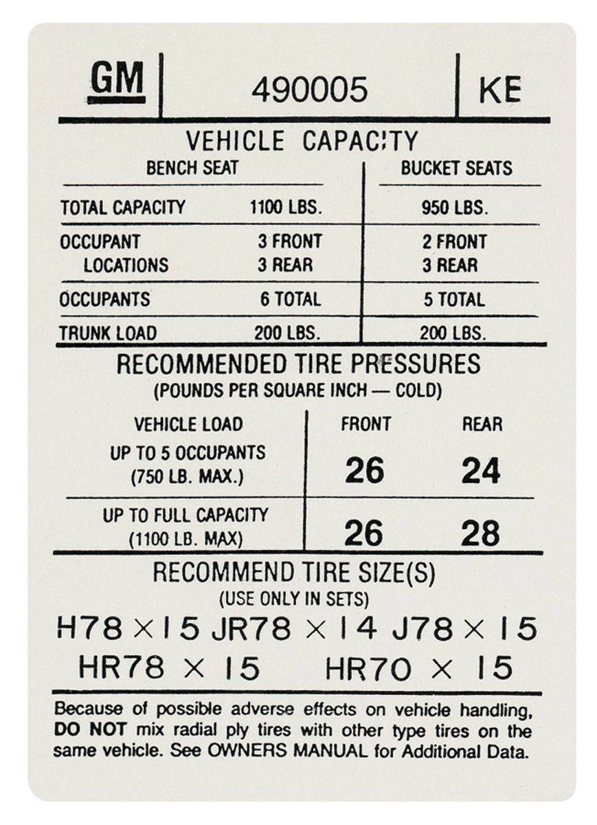 gto tire pressure decal  ke   490005  fits 1974 gto   opgi com