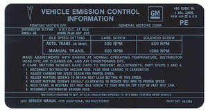 1970 LeMans Emissions Decal 400-4V RA/IV (PE, #482339)