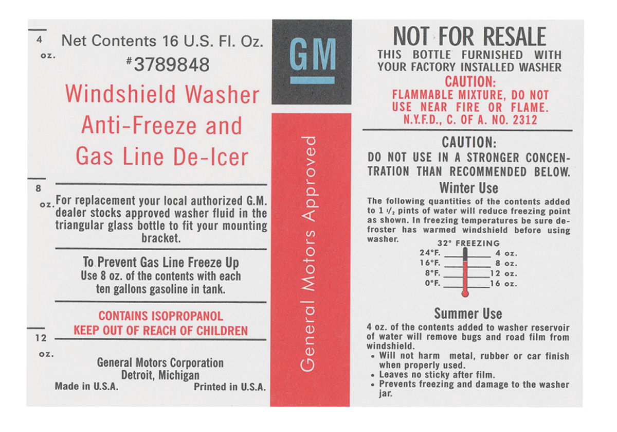 Photo of Washer Bottle Decals GM, windshield washer antifreeze gas line de-icer (#3789848)