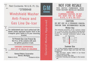 1968-75 Catalina Windshield Washer Decal, GM, Windshield Washer Antifreeze Gas Line De-Icer (#3789848)