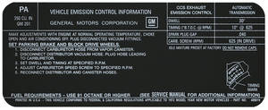 1972 Tempest Emissions Decal 350 AT (PA, #483019)