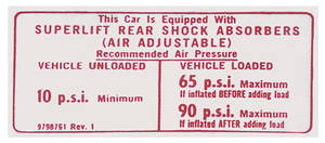 1974-1976 Catalina Air Shock Decal Super Lift Instruction Card