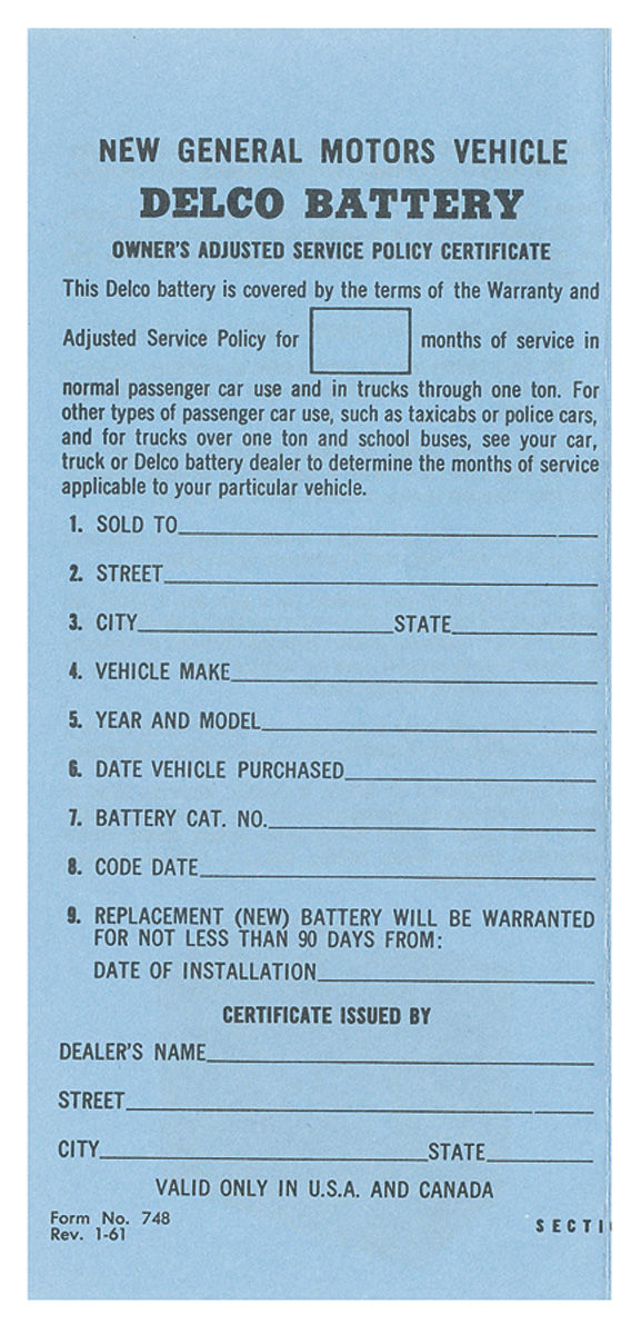 Photo of Battery Certificate, Delco