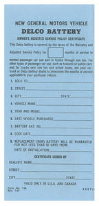 1961-1964 Cutlass Battery Certificate, Delco