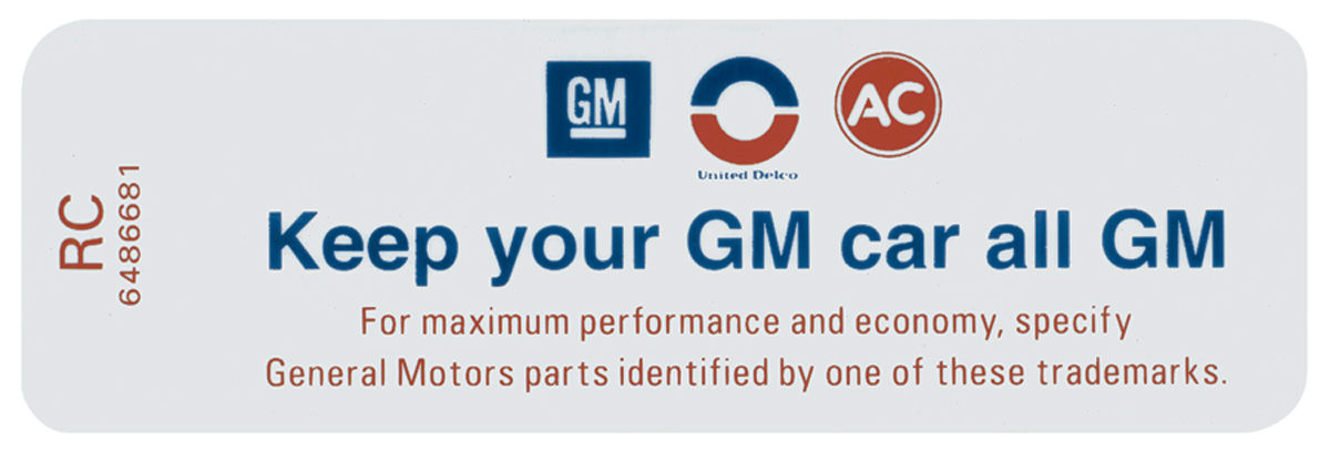"Photo of Bonneville Air Cleaner Decal, ""Keep Your GM Car All GM"" (RC, #6486681)"