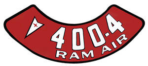 1961-73 LeMans Air Cleaner Decal 400-4V Ram Air
