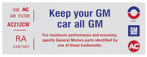 "1972-73 Tempest Air Cleaner Decal, ""Keep Your GM Car All GM"" V8 4-BBL, (RA, #6487487)"