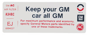 "1975 Grand Prix Air Cleaner Decal, ""Keep Your GM Car All GM"" (EJ, #8994027)"