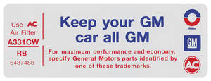 "1972-73 Grand Prix Air Cleaner Decal, ""Keep Your GM Car All GM"" V8 2-BBL (RB, #6487488)"