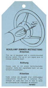 1976-1976 Catalina Headlight Dimmer Instruction Tag #491863