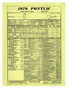 Dealer Order Sheet (1970)