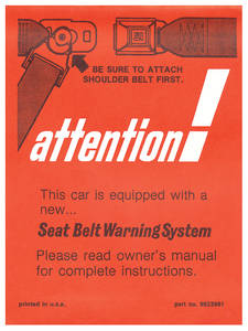 1964-1966 El Camino Seat Belt Instruction Card