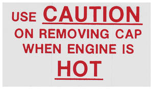 1963 Cooling System Decal Grand Prix, Caution (Hot)