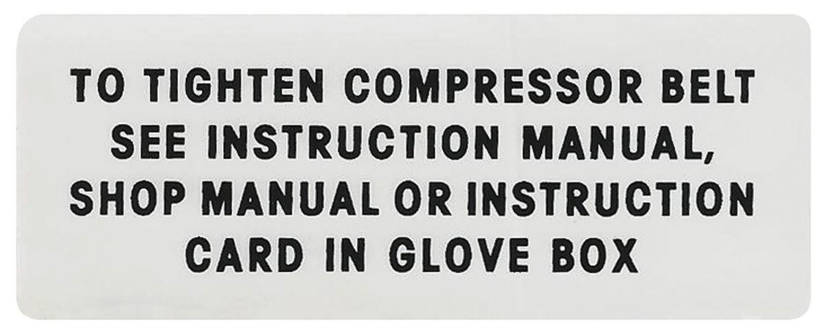 Photo of AC Compressor Belt Instruction Decal