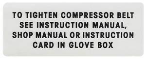 1963 Catalina AC Compressor Belt Instruction Decal