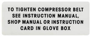 1963 Catalina AC Compressor Belt Instruction Decal