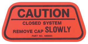 1970 Bonneville Gas Cap Decal, California (Caution) #480665