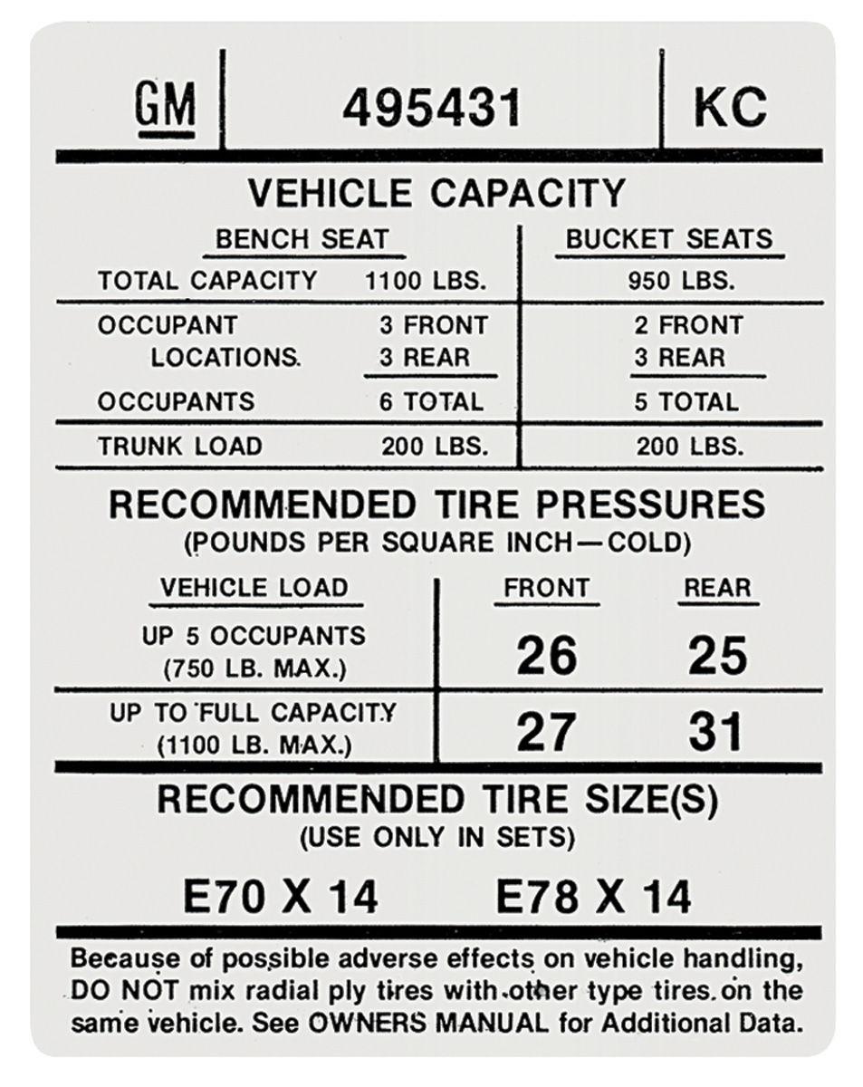 1974 gto tire pressure decal  kc   495431    opgi com