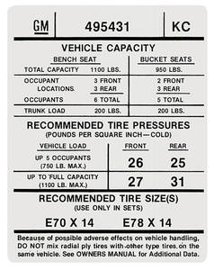 1974 Tempest Tire Pressure Decal (KC, #495431)