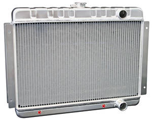 1964-65 El Camino Radiators & Fan Combos, Aluminum, DeWitts At Small Block, (Pass. Inlet/Outlet)
