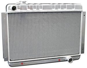 1966-1967 El Camino Radiators & Fan Combos, Aluminum, DeWitts At Small Block/BB, (Driver Inlet/Pass. Outlet)