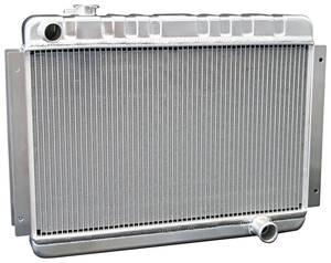 1966-67 El Camino Radiators & Fan Combos, Aluminum, DeWitts Mt Small Block/BB, (Driver Inlet/Pass. Outlet)